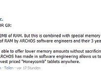 Archos G9 Honeycomb Tablets – alle Modelle kommen mit 512 MB RAM