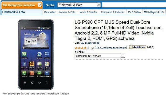 """LG Optimus Speed – Dualcore zum """"Schnäppchenpreis"""" - """"nur"""" noch 404€"""