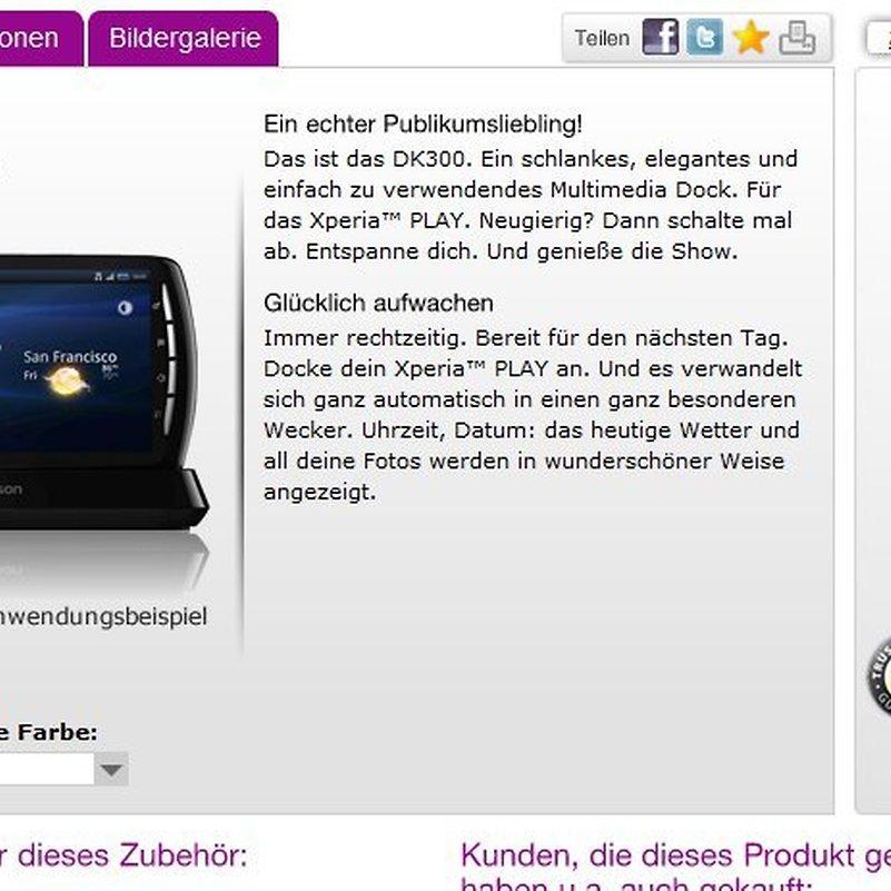 Sony Ericsson DK300 - Media Dock für das Xperia Play