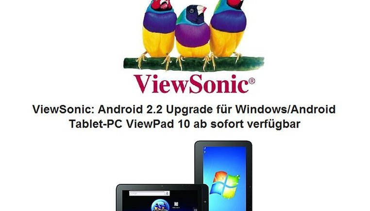 ViewSonic ViewPad 10 – Update auf Android 2.2 steht zum Download bereit