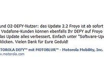 Motorola Defy – Android 2.2 Update jetzt verfügbar