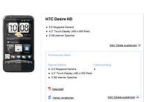 HTC Desire HD jetzt auch im Base-Shop aufgetaucht