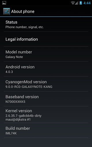 Ice Cream Sandwich Samsung Galaxy Note