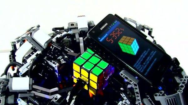 Rubix cube Galaxy S2 lego solving machiene