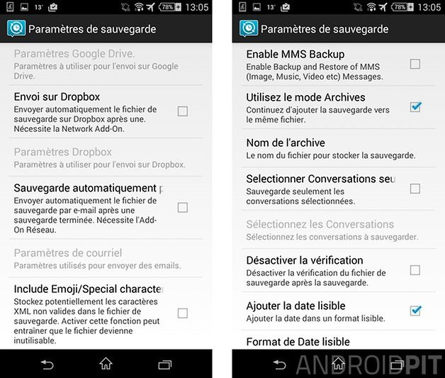 comment sauvegarder sms android email archive