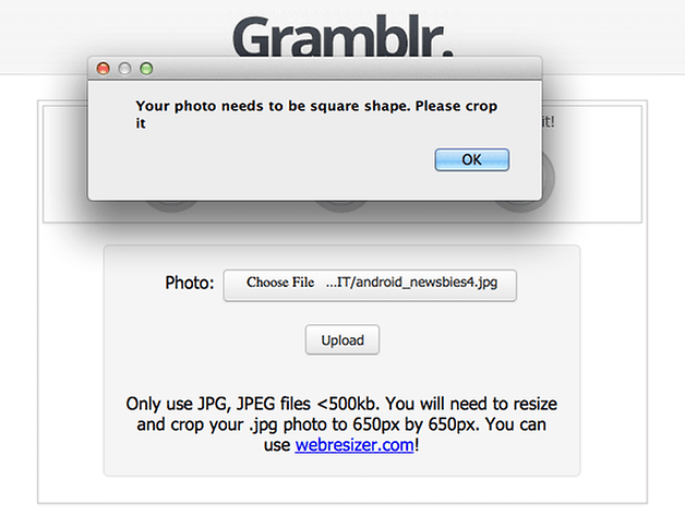 gramblr test instagram pc error