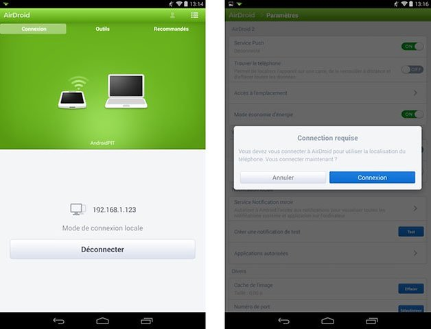 airdroid nexus 7 android device
