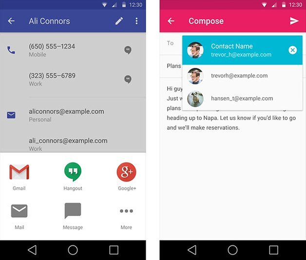 android l features review contacts