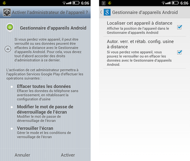 android manager verrouillage