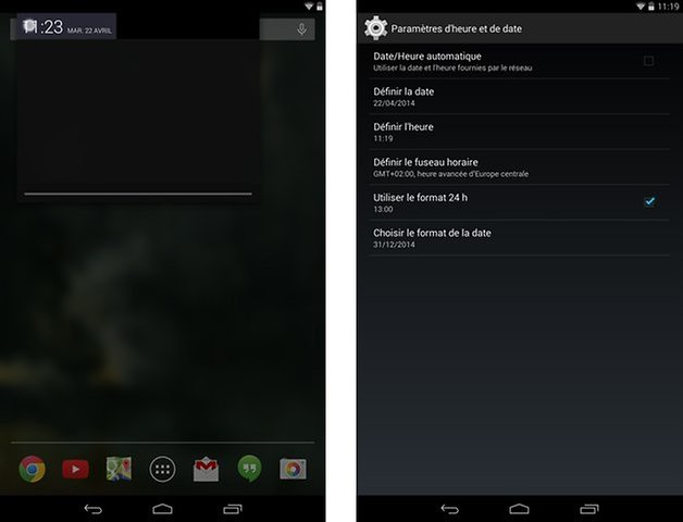 changer heure android