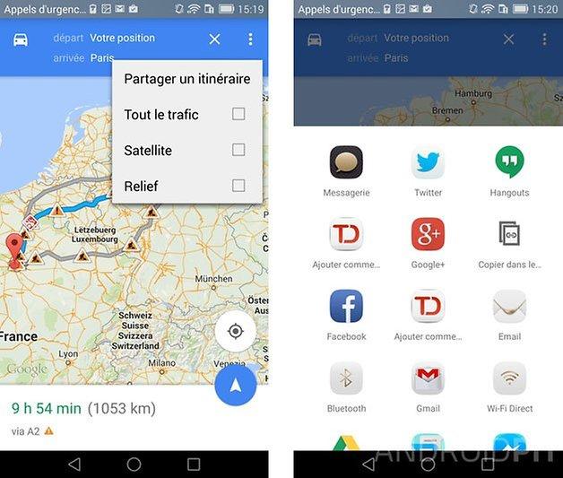 comment envoyer itineraire google maps