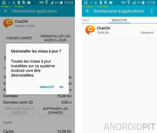 comment quitter application samsung 5