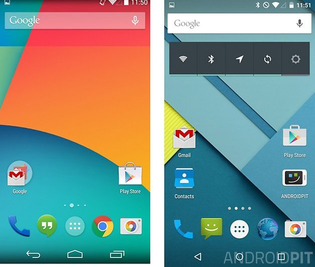 comparatif android 5 0 lollipop kitkat 4 4 accueil