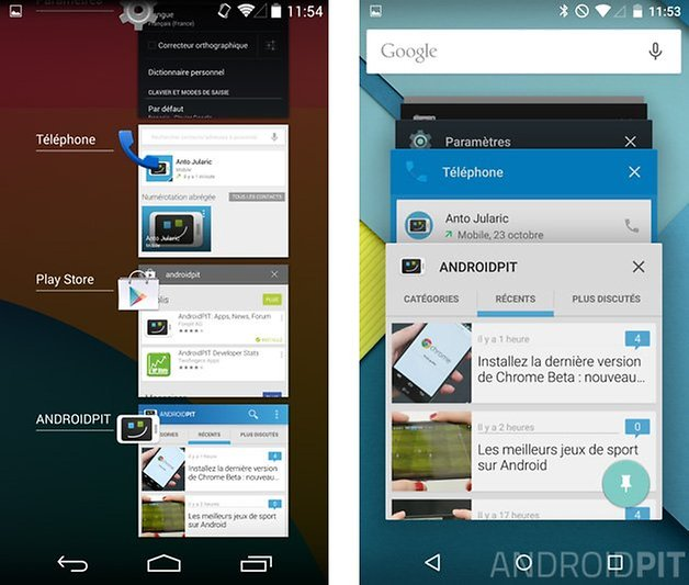 comparatif android 5 0 lollipop kitkat 4 4 applications recentes