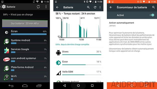 comparatif android 5 0 lollipop kitkat 4 4 batterie
