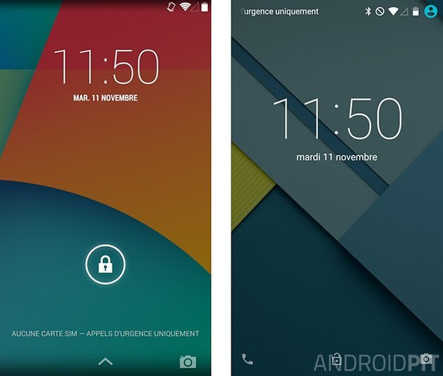 comparatif android 5 0 lollipop kitkat 4 4 lockscreen