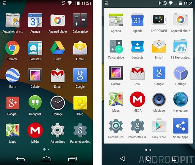 comparatif android 5 0 lollipop kitkat 4 4 tiroir applications