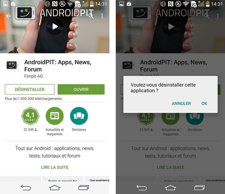 installer applications android desinstaller