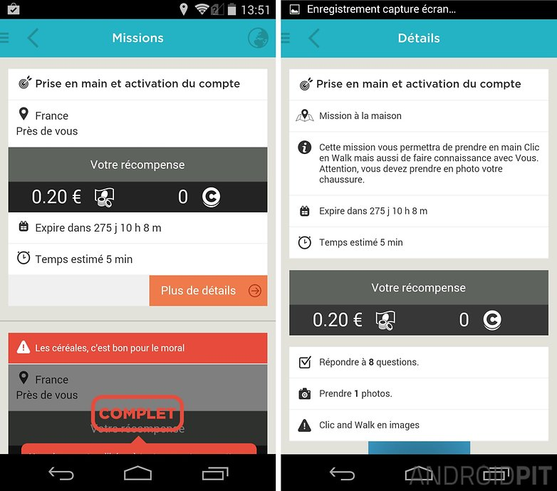 meilleures applications gagner argent clic and walk