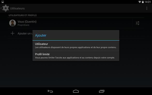 multi utilisateur android type compte
