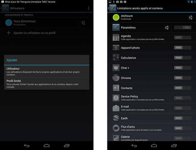 nexus 7 android 4 3 update limited user