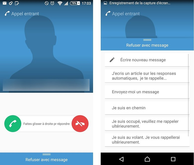 reponses automatiques android 1E