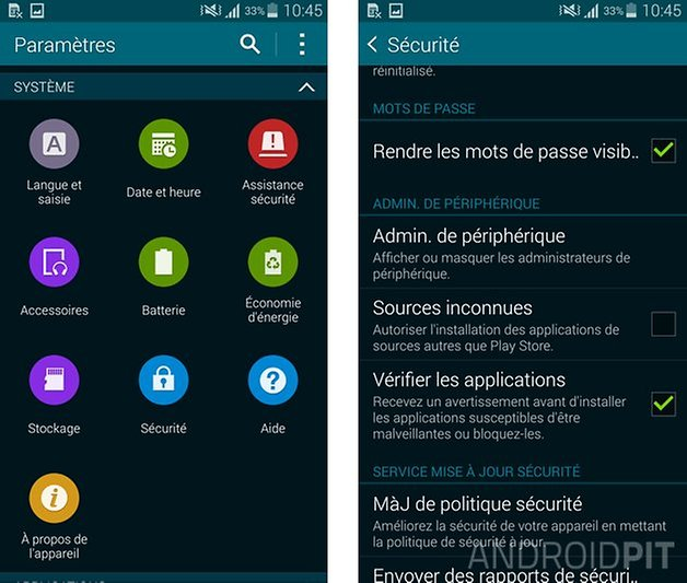 samsung galaxy s5 sources inconnues