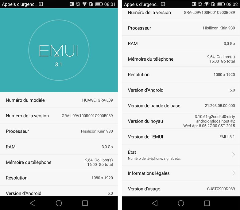 test complet huawei ascend p8 systeme 2