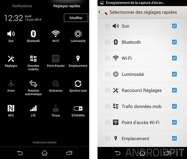 trucs astuces sony xperia z1 quick settings