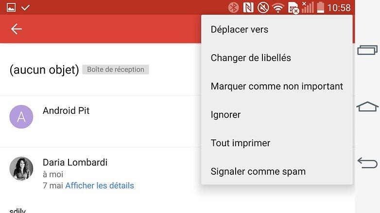 trucs et astuces gmail android menu