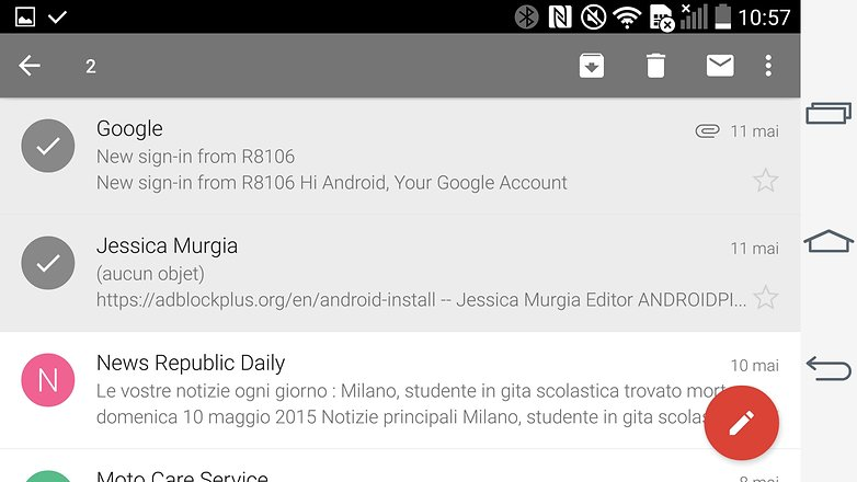 trucs et astuces gmail android selection