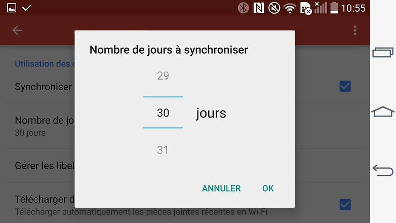trucs et astuces gmail android sync jours