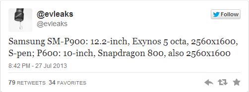 tweet evleaks samsung p900