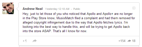 Andrew Neal's Post on Apollo via Google+