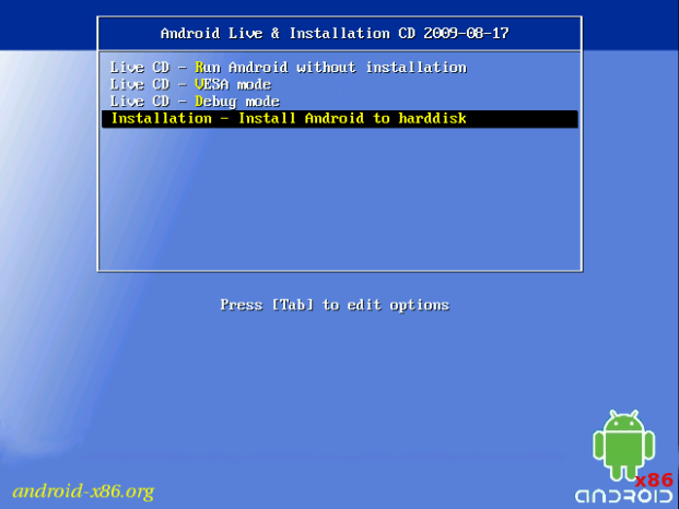 Android x86 Install Screen