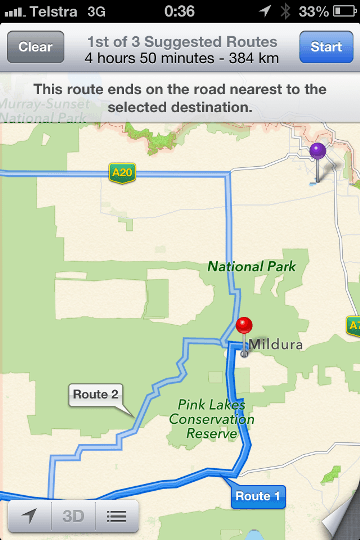 Apple Maps messed up directions in Australia