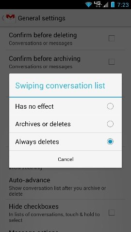 Enable Swipe to Delete in Gmail