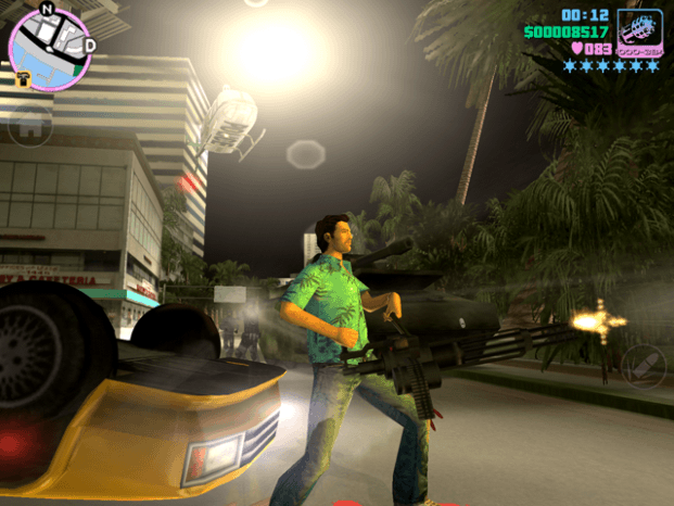 GTA Vice City- Tommy Vercetti on a rampage mission with a chaingun