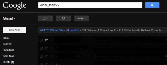 The new advanced search feature in Gmail