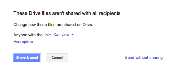 Google Drive Permission Check in Gmail