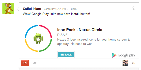 New Google+ Install Button in App Links