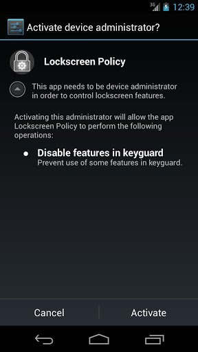 Lockscreen Policy Requesting Device Administrator Access