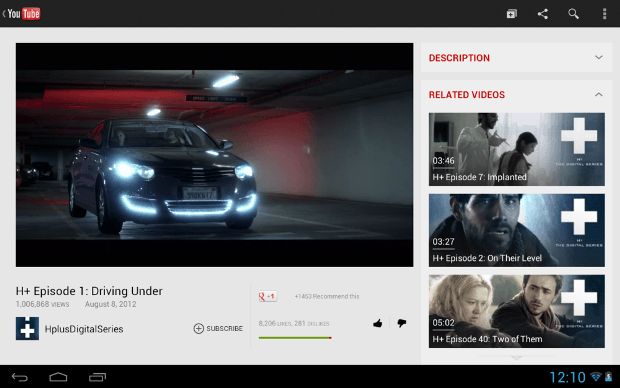 New Youtube layout for ten inch tablets