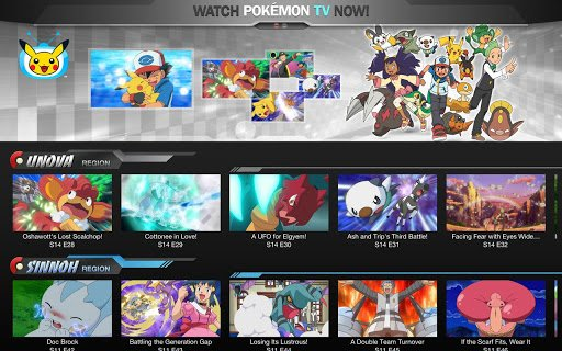 Pokemon TV layout landscape mode