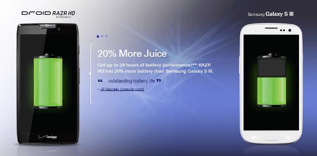 Motorola Droid RAZR HD has more juice than the Samsung Galaxy SIII