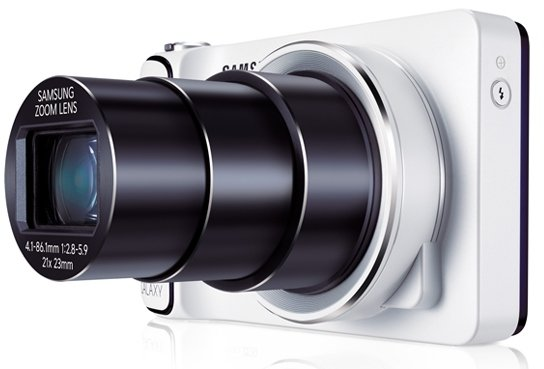 Samsung Galaxy Camera (White) with Lens Extended