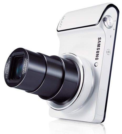 Samsung Galaxy Camera (White) standing upright