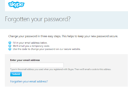 Skype Password Reset Page