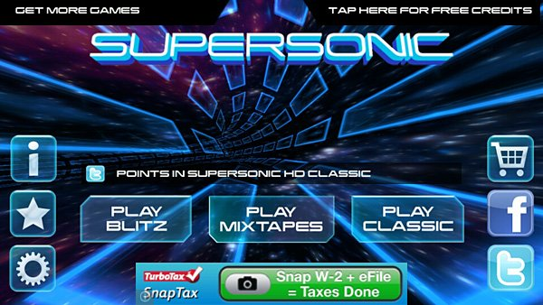 Supersonic Main Menu