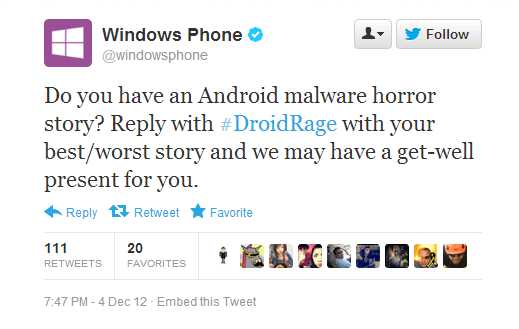 Windows Phone Droid Rage Campaign Tweet